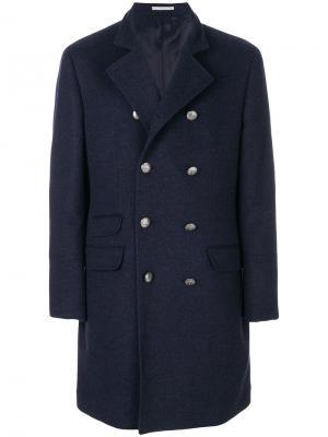 Двубортное пальто Brunello Cucinelli. Цвет: синий