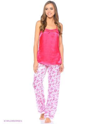 Топ; брюки Infinity Lingerie. Цвет: розовый, белый