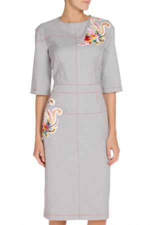 Платье с аппликацией NATALIA PICARIELLO. Цвет: серо-голубой