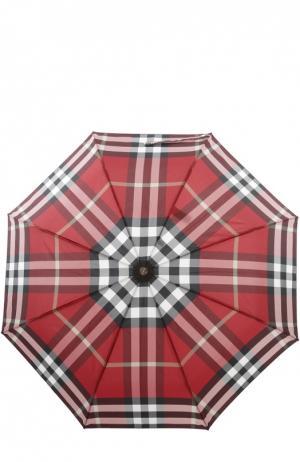 Складной зонт в клетку Burberry. Цвет: красный