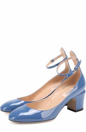 Лаковые туфли Tan-Go с ремешком на щиколотке Valentino. Цвет: синий
