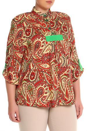 Блуза EVA Collection. Цвет: красно-желтый
