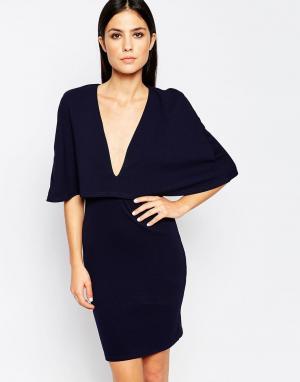 Club L Платье в стиле кейп. Цвет: темно-синий