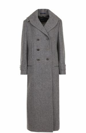 Двубортное шерстяное пальто с капюшоном Yohji Yamamoto. Цвет: серый