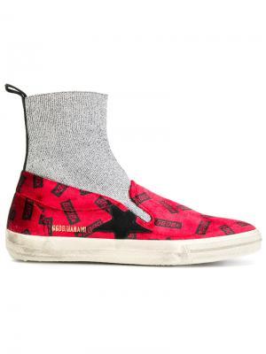 Кроссовки Hanami с носком Golden Goose Deluxe Brand. Цвет: красный