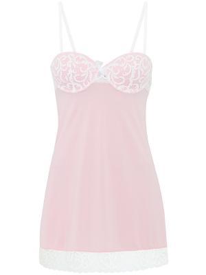 Ночная сорочка Oodji. Цвет: розовый, белый