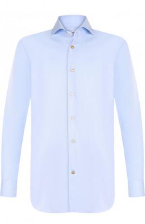Хлопковая сорочка с воротником кент Kiton. Цвет: голубой