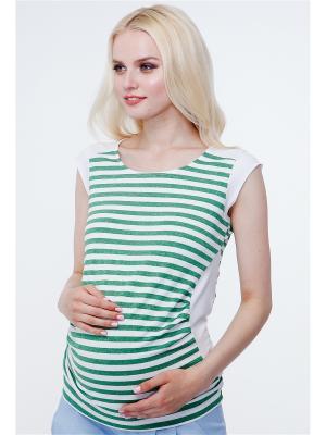 Блузка TUTTA MAMA. Цвет: белый, зеленый