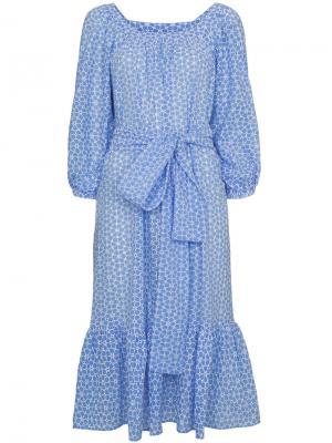 Платье с узором и люверсами Lisa Marie Fernandez. Цвет: синий