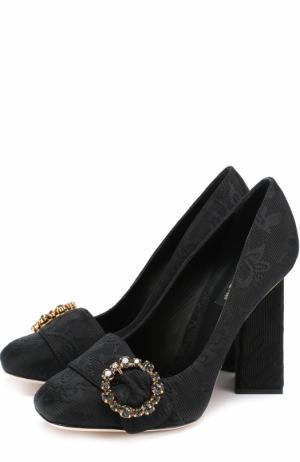 Туфли Jackie из текстиля на геометричном каблуке Dolce & Gabbana. Цвет: черный