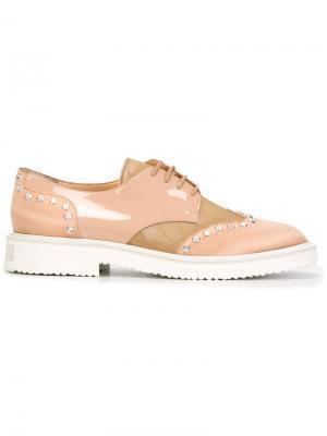 Декорированные туфли с контрастными панелями Giuseppe Zanotti Design. Цвет: телесный