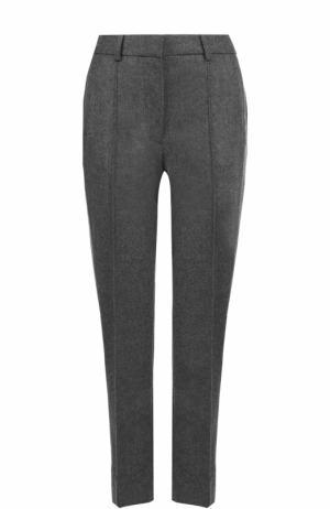 Укороченные шерстяные брюки с лампасами Victoria by Beckham. Цвет: серый