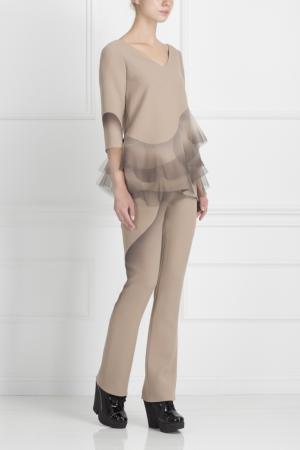 Шерстяные брюки Marc Jacobs. Цвет: пудровый