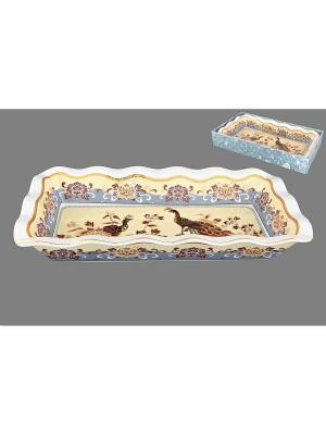 Блюдо для заливного Павлин на бежевом Elan Gallery. Цвет: бежевый, золотистый, коричневый