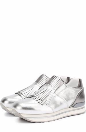 Кроссовки из металлизированной кожи с бахромой Hogan. Цвет: серебряный