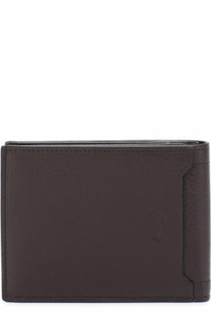 Комплект из кожаного портмоне и футляра для кредитных карт Brioni. Цвет: темно-коричневый