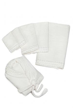 Набор (халат с поясом и полотенцами (5шт) 131817 Basile. Цвет: бежевый