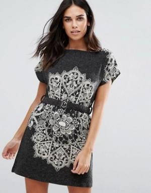 Jasmine Цельнокройное платье с принтом пейсли. Цвет: серый
