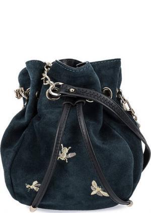 Маленькая зашмевая сумка с вышивкой Curanni. Цвет: бирюзовый