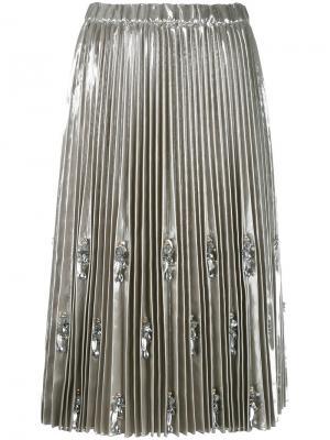 Декорированная плиссированная юбка Nº21. Цвет: серый