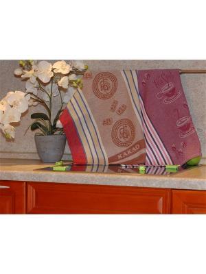 Набор жаккардовых полотенец 50х70 2 штуки SET-11 (Чай,Какао) в пакете ТекСтиль для дома. Цвет: коричневый, бежевый, красный, белый, сливовый