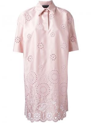 Платье шифт с вышивкой Rochas. Цвет: розовый и фиолетовый