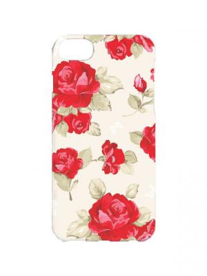 Чехол для iPhone 7Plus Красные розы Арт. 7Plus-251 Chocopony. Цвет: красный, бежевый