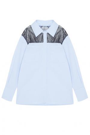 Хлопковая блузка Manhattan MoS. Цвет: голубой