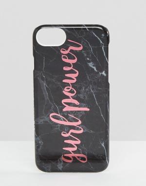 Skinnydip Чехол для iPhone 6/6S/7 с мраморным эффектом и принтом Girl Power Skin. Цвет: мульти