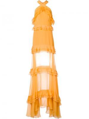 Многоярусное платье с рюшами Prabal Gurung. Цвет: жёлтый и оранжевый