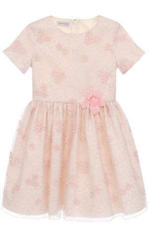 Мини-платье с вышивкой и декором I Pinco Pallino. Цвет: розовый