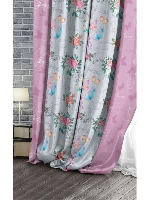 Штора (1 шт.), Волшебная ночь, 220*270см., ткань-Сатен, стиль-Лофт, дизайн-Wishes ночь. Цвет: голубой, розовый, светло-серый