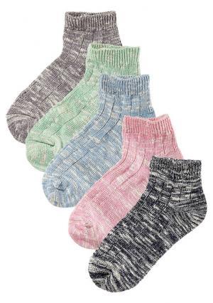 Короткие носки, 5 пар Arizona. Цвет: 5x черный меланжевый, светло-джинсовый+бежевый+розовый+темно-синий+зеленый