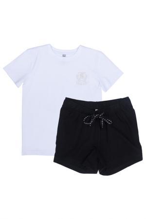 Комплект: футболка, шорты Scool S'cool. Цвет: белый, черный