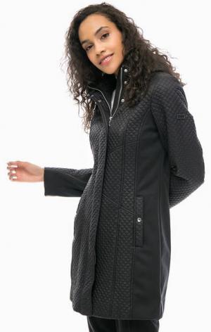 Стеганая куртка со съемным капюшоном olsen. Цвет: черный