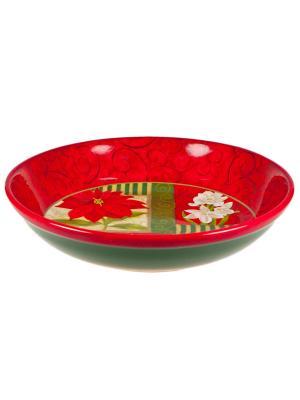 Набор тарелок суповых 23см Пуанцеттия Certified International. Цвет: красный