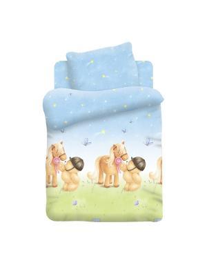 Комплект постельного белья детский поплин Мишка и Пони Forever Friends. Цвет: светло-зеленый, светло-голубой