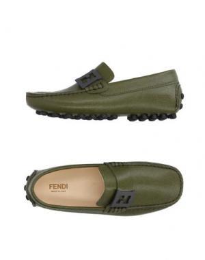 Мокасины FENDI. Цвет: зеленый-милитари
