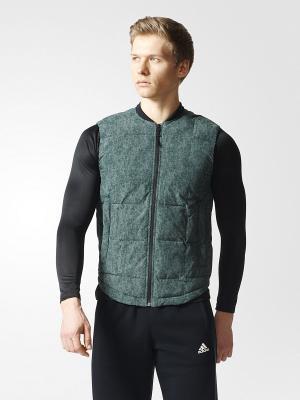 Жилет LIGHT DOWN VEST Adidas. Цвет: серо-зеленый
