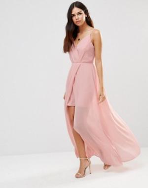 Adelyn Rae Платье макси с V-образным вырезом. Цвет: розовый
