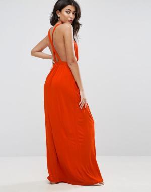 ASOS Трикотажное пляжное платье макси с перекрестом на спине. Цвет: красный