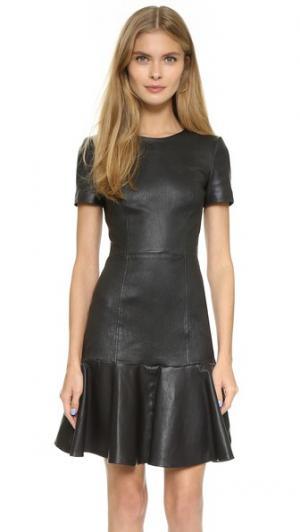 Кожаное платье Moore Temperley London. Цвет: голубой
