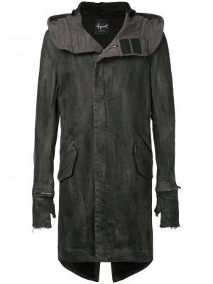 Пальто с капюшоном и съемными перчатками Fagassent. Цвет: чёрный