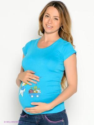 Футболка для беременных EUROMAMA. Цвет: лазурный, белый