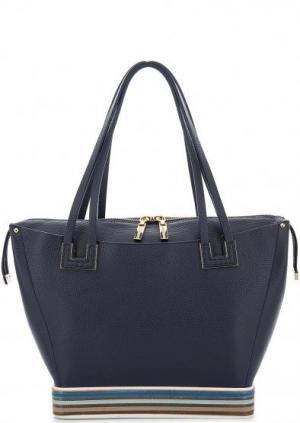 Синяя кожаная сумка с длинными ручками Gironacci. Цвет: синий