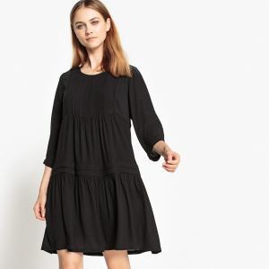 Платье однотонное расклешенного и короткого покроя с рукавами 3/4 SEE U SOON. Цвет: черный