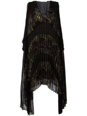 Плиссированное платье с цветочным принтом Marco De Vincenzo. Цвет: чёрный