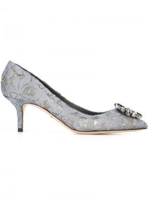 Кружевные туфли-лодочки Dolce & Gabbana. Цвет: серый