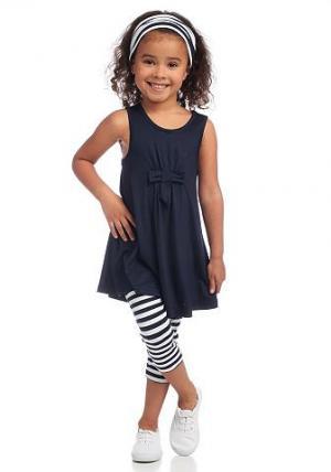 Kidoki, платье, леггинсы и лента для волос (комплект из 3 предметов), девочек CFL. Цвет: синий морской + синий морской с белым