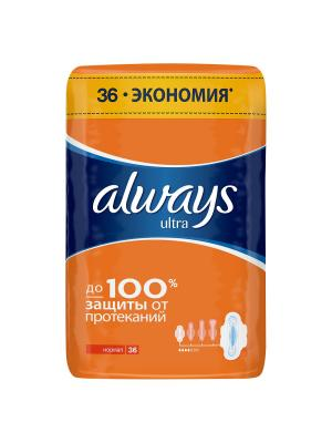 Женские гигиенические прокладки ALWAYS Ultra ароматизированные Normal Quatro 36шт. Цвет: темно-синий, оранжевый